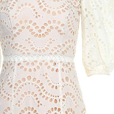 balloon sleeve lace dress ivory